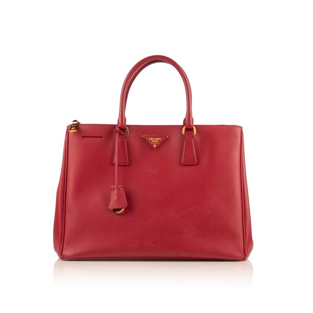 1d2eee67c75b Red Leather Double Zip Saffiano Lux Tote by PRADA   StyleTribute.com