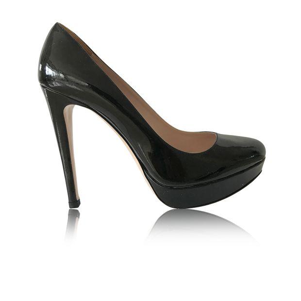 0b4894fb6c81 Black Patent Leather Platform Stilettos by MIU MIU
