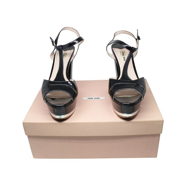 3c02ee5909c MIU MIU Black and Silver T-Strap Patent Leather Block Heel Platform Sandals  ...