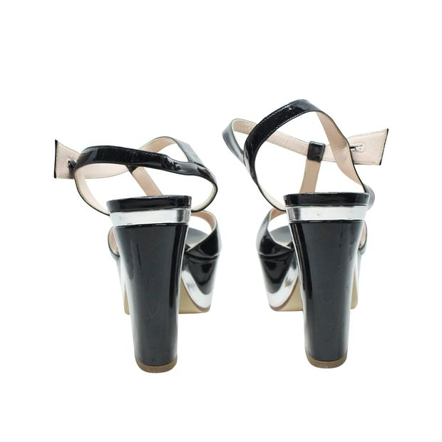 3624a914bb37 MIU MIU Black and Silver T-Strap Patent Leather Block Heel Platform Sandals  3 thumbnail