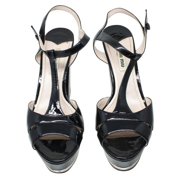 c7b0c78d481b MIU MIU Black and Silver T-Strap Patent Leather Block Heel Platform Sandals  2 thumbnail