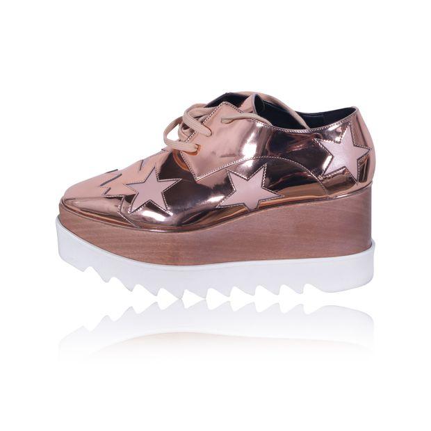3e7e8a8bf86 STELLA MCCARTNEY Rose Gold Shiny Stars Elyse Flatform Shoes 0 thumbnail