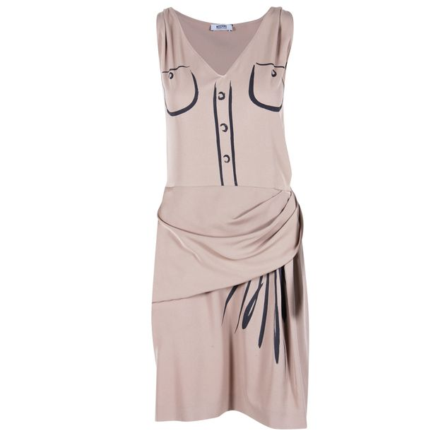 6752d8fa0018 Beige Trompe L'oeil Print Dress by MOSCHINO CHEAP AND CHIC ...