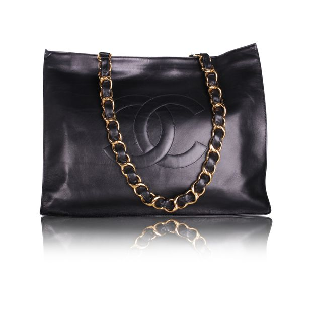 6430cd144bcb Vintage Black leather Chanel XL shopping tote by CHANEL ...