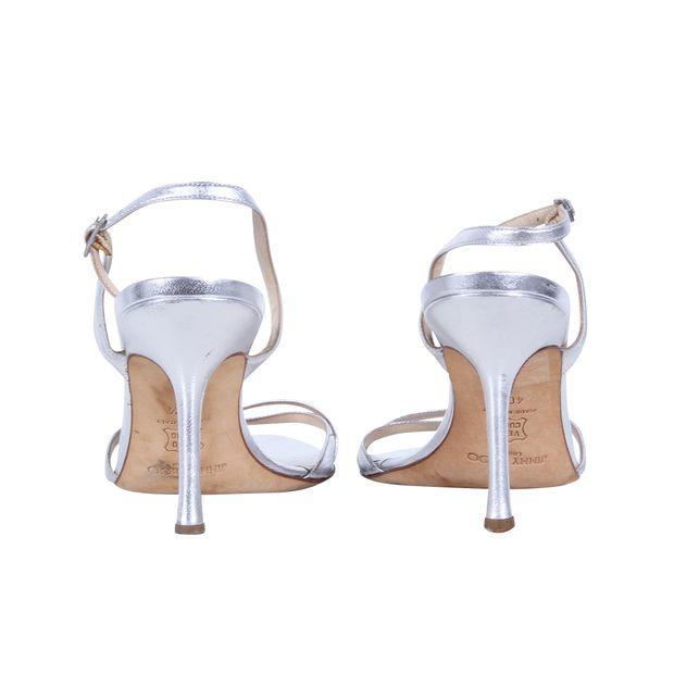 74b8230278d5 JIMMY CHOO Silver Sling Back Sandal Heels 3 thumbnail