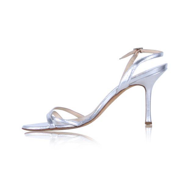 562a5303e64f JIMMY CHOO Silver Sling Back Sandal Heels 0 thumbnail