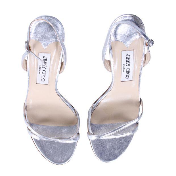 44f936146d89 JIMMY CHOO Silver Sling Back Sandal Heels 2 thumbnail