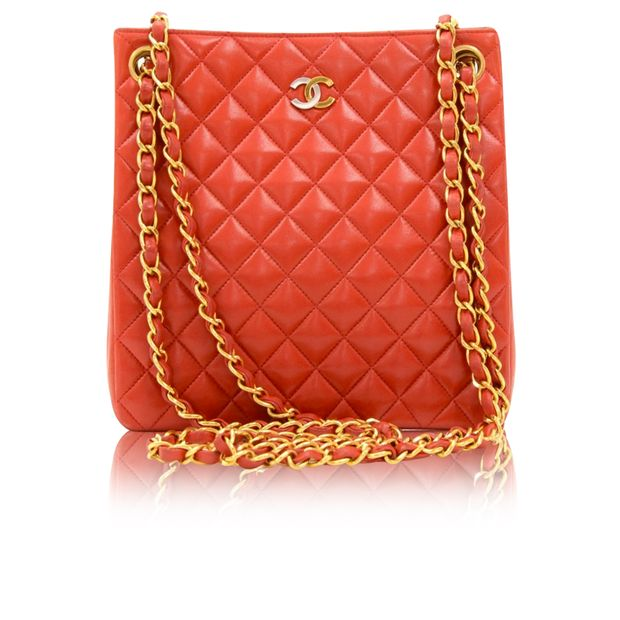 710711f14e1f Paris Limited Red Quilted Leather Small Shoulder Tote Bag by CHANEL ...