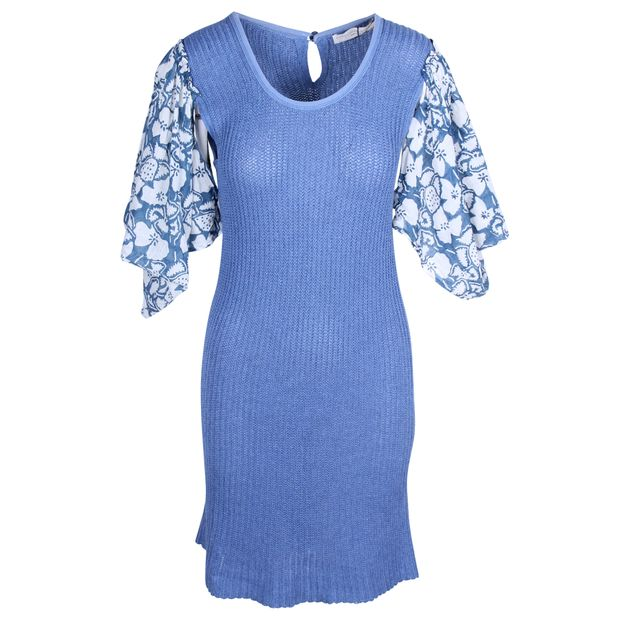 0c7b17700 STELLA MCCARTNEY Blue Knitted Dress with Flared Flower Printed Sleeves ...