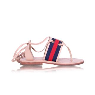 f8e8725964b White Leather Bamboo Buckle Block Heel Sandals by GUCCI ...