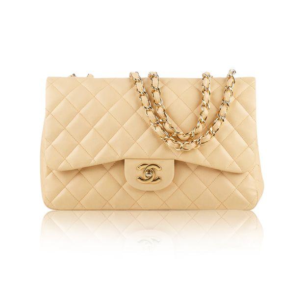 9c76d457aa5e Beige Lambskin Jumbo Classic Flap Bag by CHANEL