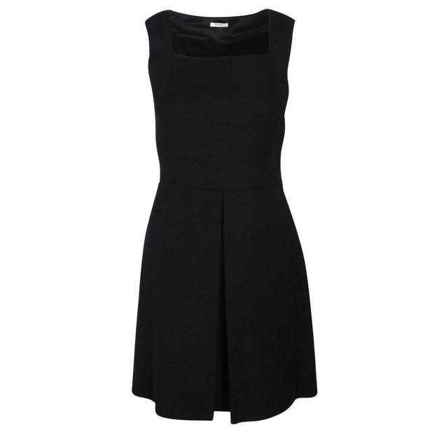 91ee201a53156 MIU MIU Black Square Neck Sleeveless Dress 0 thumbnail