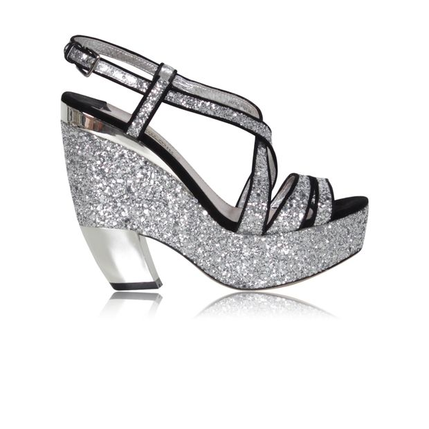 4a878264e88f Strappy Glitter Wedge Platform Sandals by MIU MIU | StyleTribute.com
