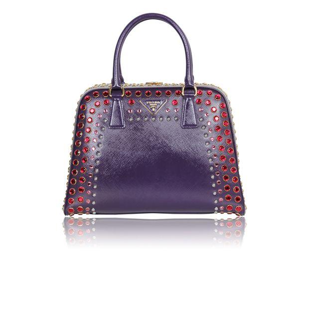 bc3ff5dd4c50b PRADA Prada Saffiano Vernice Embellished Frame Pyramid Top Handle Bag  (Limited Runway Edition) 0