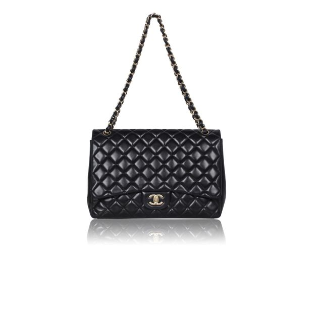 1676f36d79a7 Black Large Flap Bag With Gold Hardware by CHANEL | StyleTribute.com