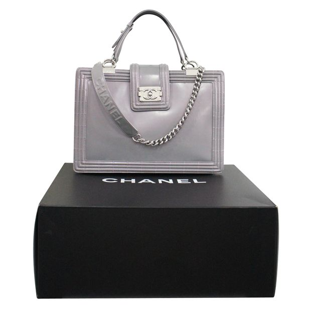 2dee156566871a Silver Lilac Boy Tote Glazed Calfskin Large by CHANEL | StyleTribute.com
