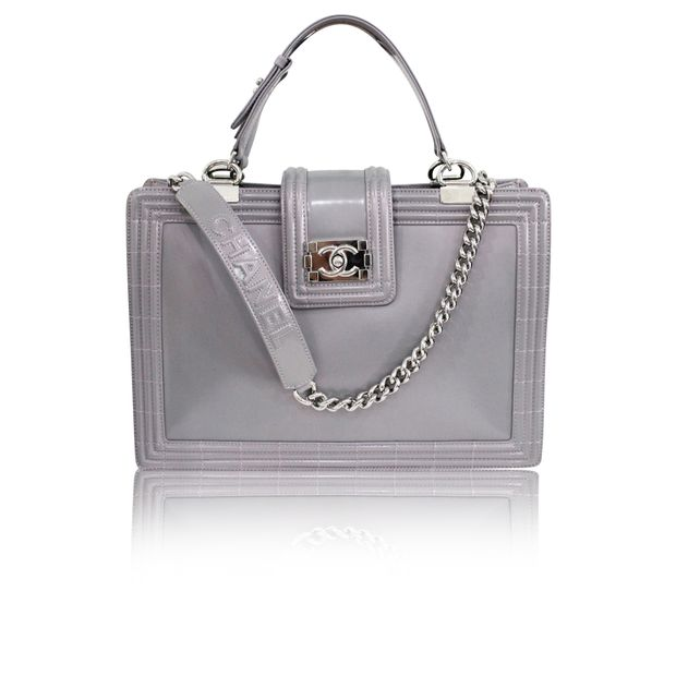 f1bad5e1d452 Silver Lilac Boy Tote Glazed Calfskin Large by CHANEL | StyleTribute.com