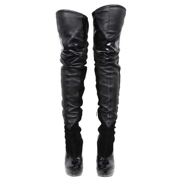 b090bfae07 Leather Stretch Over Knee Thigh High Platform Boots by GUCCI ...