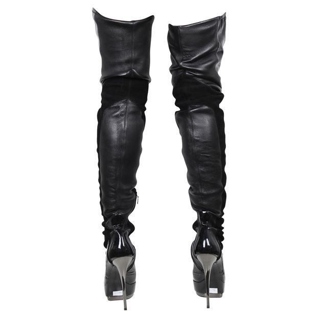 14c020c83 Leather Stretch Over Knee Thigh High Platform Boots by GUCCI ...