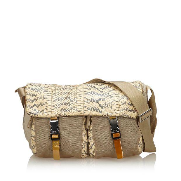 661bb22f9148 Python Leather Trimmed Shoulder Bag by PRADA   StyleTribute.com