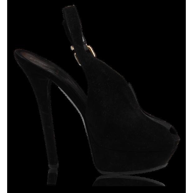 ed613357 Black Peeptoe Heels