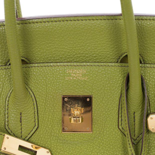 25bd8a24518 HERMÈS Lime Green Togo 35cm Birkin Bag 4 thumbnail