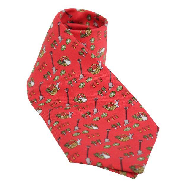 a7f161c5a794 Red Print Silk Tie by HERMÈS | StyleTribute.com