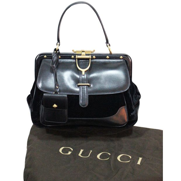 e9568f9d80f6 Lady Stirrup Black Diamante Velvet Bag by GUCCI | StyleTribute.com