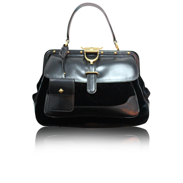 e9568f9d80f6 Lady Stirrup Black Diamante Velvet Bag by GUCCI | StyleTribute.com