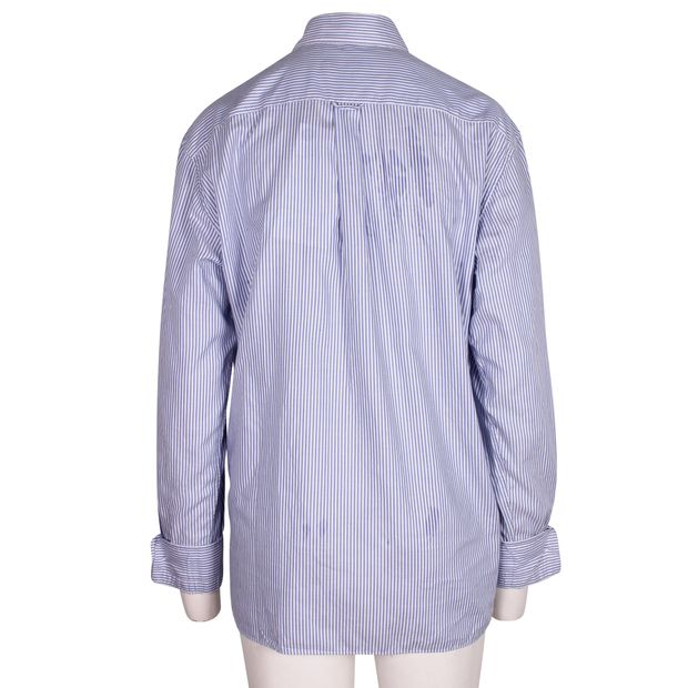 cabacdb744 Long Sleeves Striped Blue Shirt by MAISON KITSUNE | StyleTribute.com