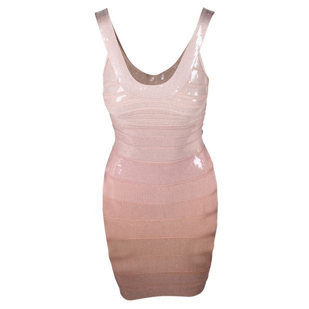 7ea0e1193774e Nude Sequins Bodycon Dress by HERVE LEGER | StyleTribute.com