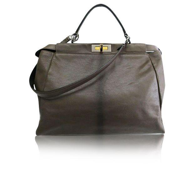 b502f81b403 Dark Grey Leather Large Peekaboo Tote by FENDI | StyleTribute.com