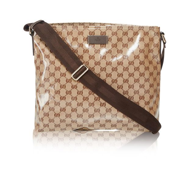eb48d3591b9f Beige/Ebony GG Crystal Coated Canvas Messenger Bag by GUCCI ...