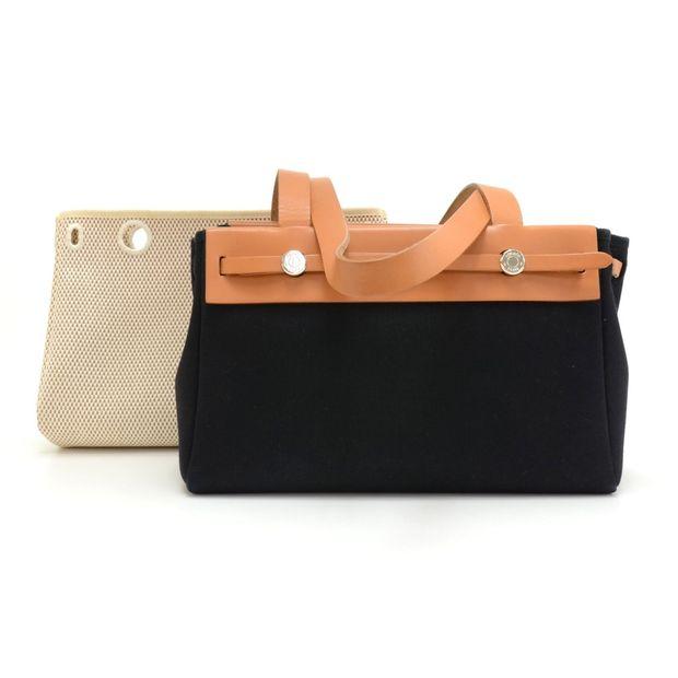 0b528f843bf2 HERMÈS Herbag Cabas PM Beige x Black Canvas Brown Leather Tote Bag ...