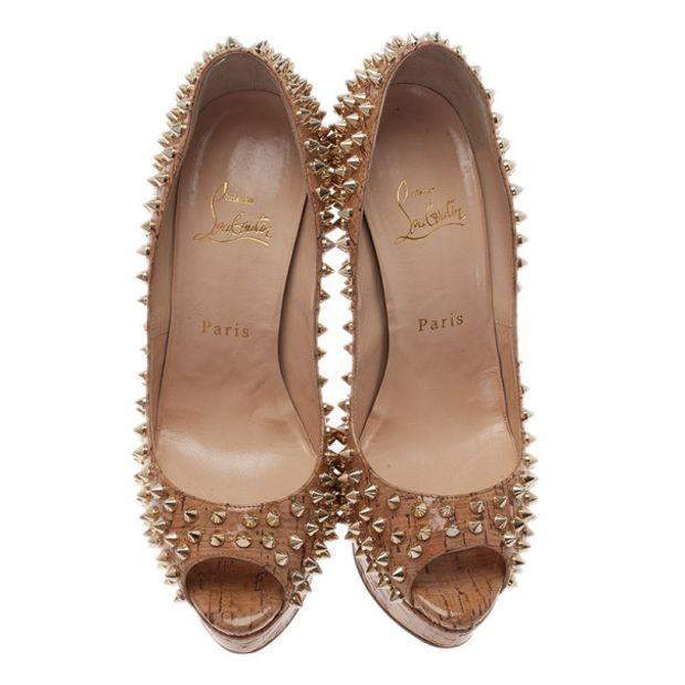 prix compétitif c601c 89723 Cork Lady Peep Toe Spike Pumps Size 38