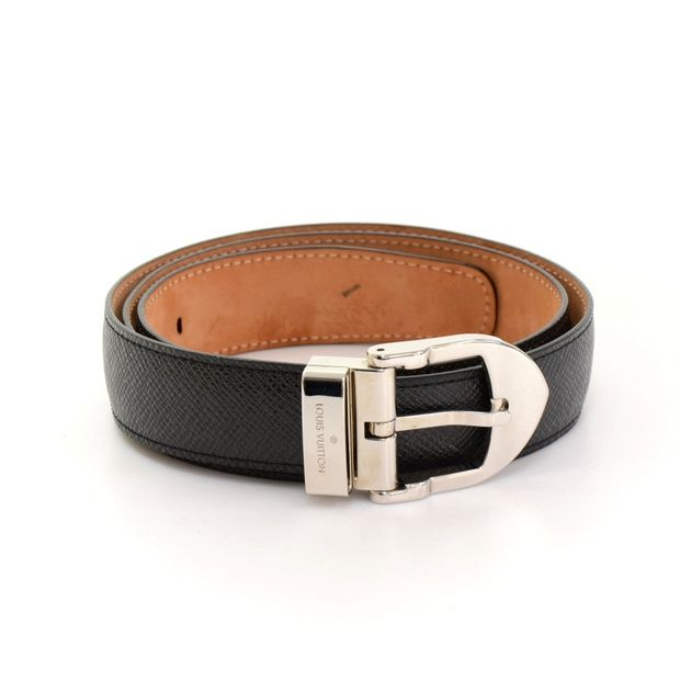 8c19e23f1242 LOUIS VUITTON Black Taiga Leather San Tour Classic Belt Size 85 34 ...