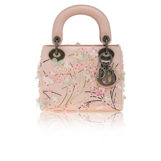 sold. DIOR Dior Limited Edition Light Pink Satin Embroidered Flower Print  Mini Lady Dior Tote Bag ... d24a1e7177c81