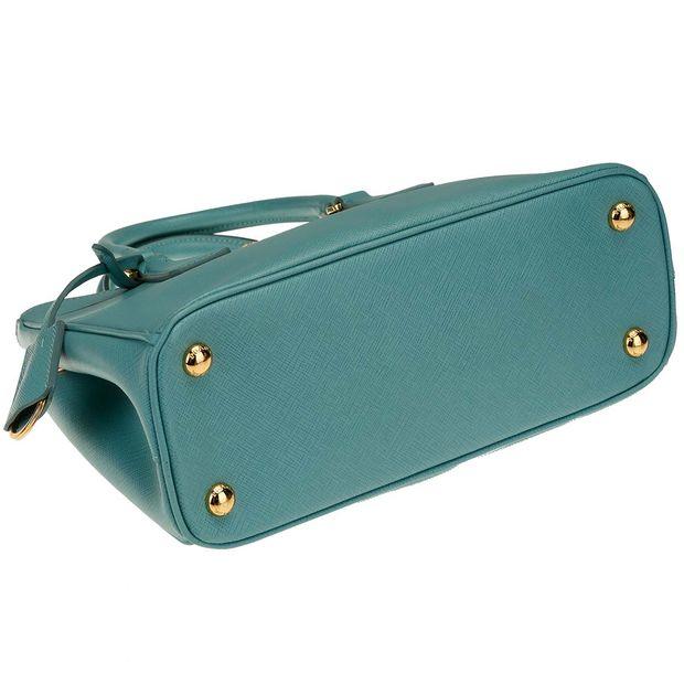 9f52fb14e6ac0b PRADA Prada Aquamarine Saffiano Leather Lux Small Double Zip Tote Bag 2  thumbnail