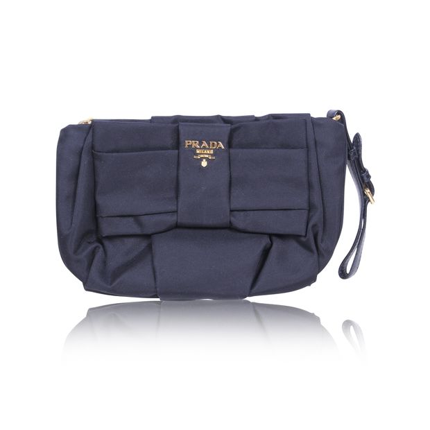 ff5a2dec11ed Black Tessuto Nylon Bow Wristlet by PRADA | StyleTribute.com
