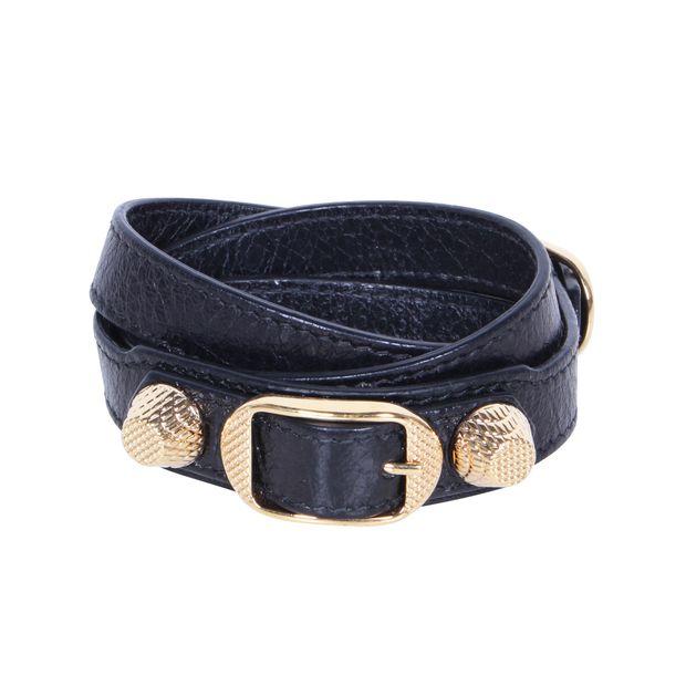 1003ad46c13ea Giant Triple Tour Textured-leather and Gold Tone Bracelets