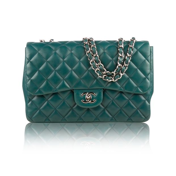 ded1e81d34ac Green Lambskin Jumbo Classic Flap Bag by CHANEL | StyleTribute.com