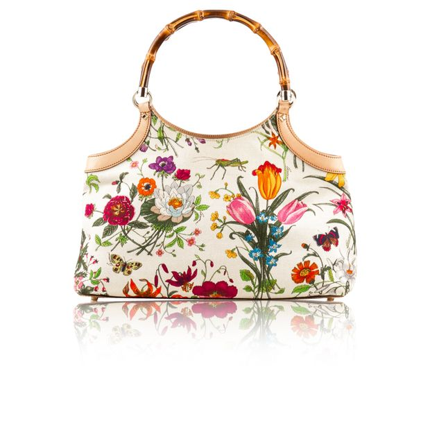 36566368c Ivory Canvas Flora Bamboo Tote by GUCCI | StyleTribute.com