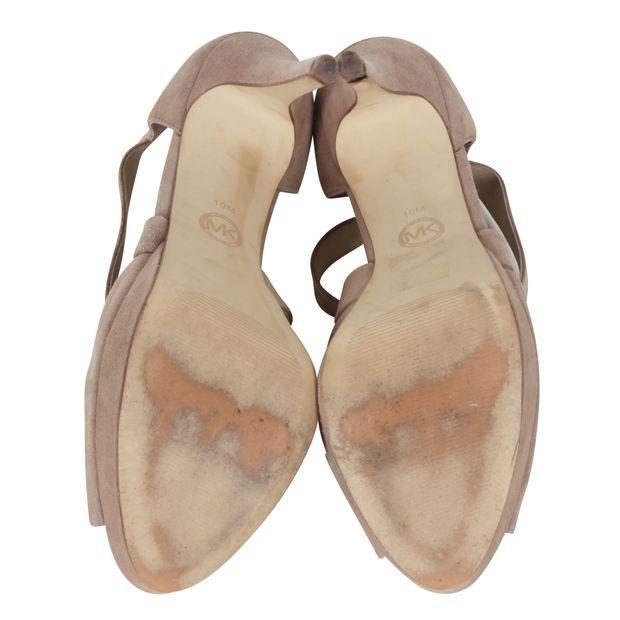 1a588a7345d Ariel Platform Beige Suede Sandals by MICHAEL MICHAEL KORS ...