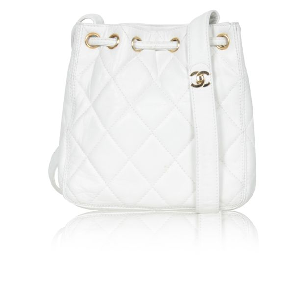 e3a49afb1f53c White Vintage Quilted Mini Bucket Bag by CHANEL