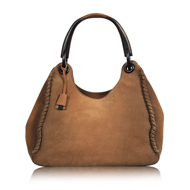 3b5bee4c9f50 Suede Hobo Bag with Wooden Handle by GUCCI | StyleTribute.com