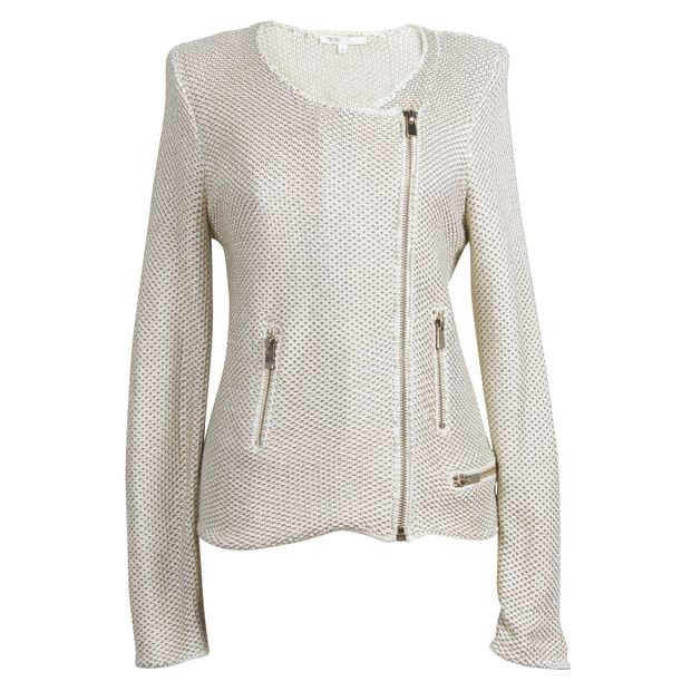 77d6f1a4261 White and Gold Knitted Biker Cardigan