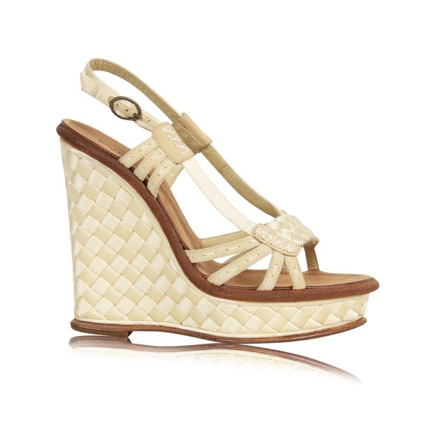 5234814821a BOTTEGA VENETA Beige Strappy Wedges Sandals 0 thumbnail