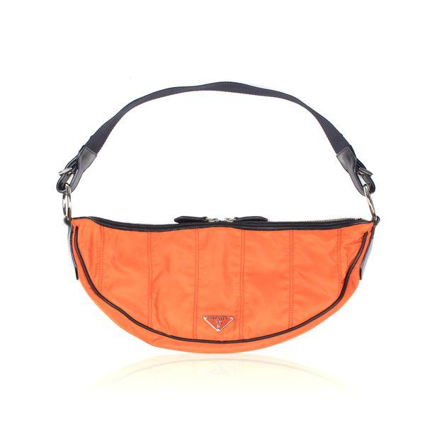 9a89cb7fec6e Orange Nylon and Black Leather Shoulder Bag by PRADA