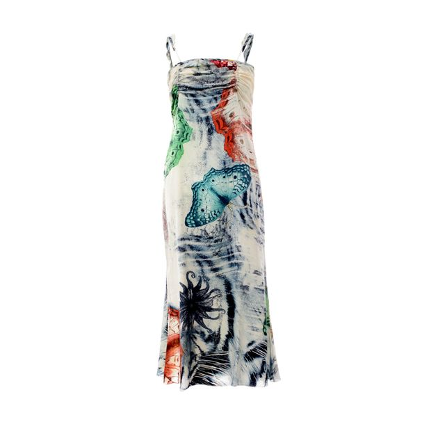 new style fa151 62072 Midi Slip Dress With Butterfly Print