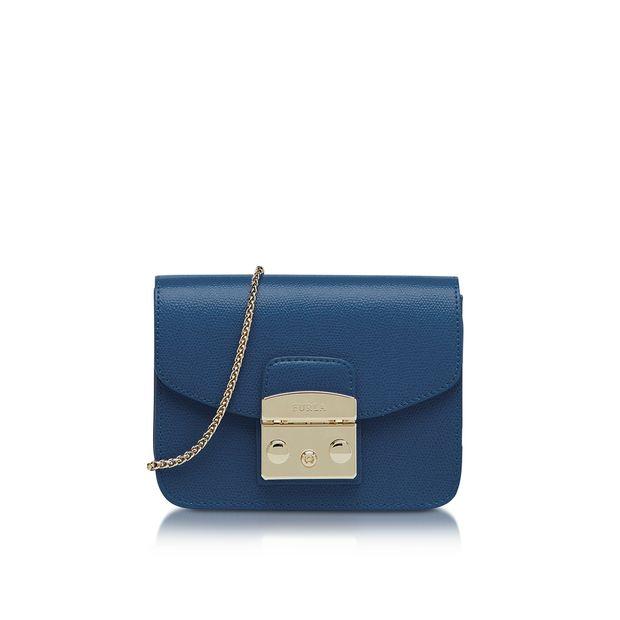 FURLA Metropolis Mini Blue Ginepro Leather Crossbody Bag ...